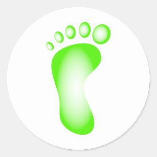 Pie verde transparente pegatina redonda
