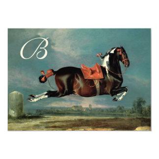 "Piebald Horse""Cehero' Rearing Parchment Monogram Card"