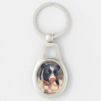 Piebald Pig puppy for Pig Lovers Silver-Colored Oval Metal Keychain