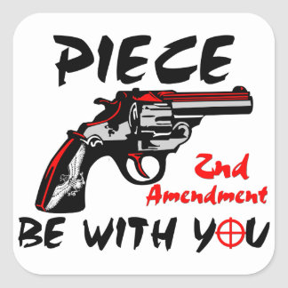 Piece Be With You! Square Stickers
