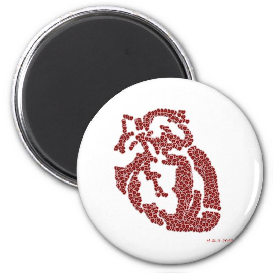 Piece O' My Hearts 2 Inch Round Magnet