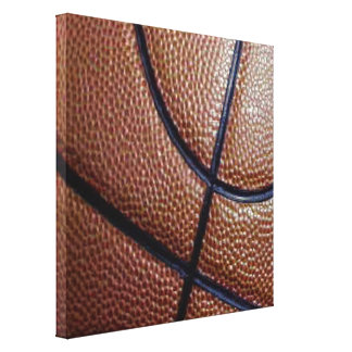 Piece of a basketball with dimples and lines canvas print