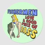 Piece Of Bass Fishing T-shirts and Gifts Round Stickers