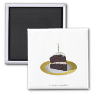 Piece of Birthday Cake 2 Inch Square Magnet