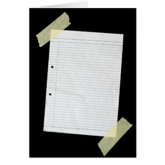 Piece of blank writing paper card