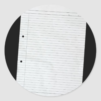 Piece of blank writing paper classic round sticker