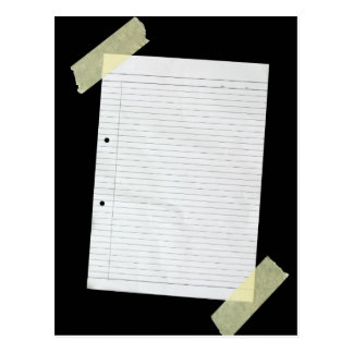 Piece of blank writing paper postcard
