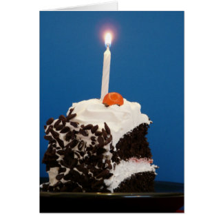 Piece of Cake with one lit candle Card