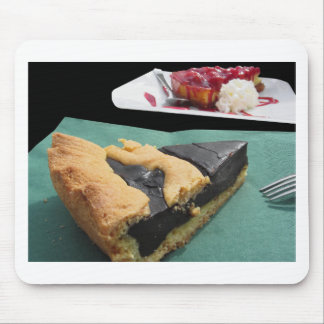 Piece of chocolate cake and cheesecake mouse pad