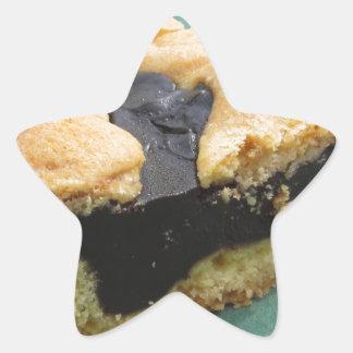 Piece of chocolate cake on green paper napkin star sticker