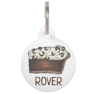 Piece of Chocolate Mousse Cream Pie Slice Baking Pet Name Tag