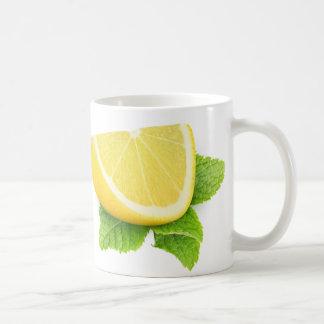 Piece of lemon coffee mug