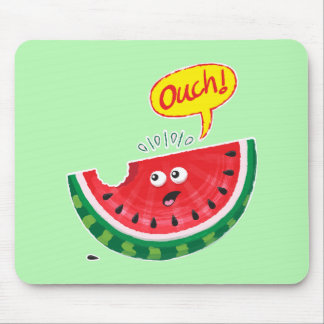 Piece of watermelon expressing pain after a bite mouse pad