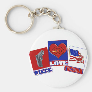 PIECE  (PEACE)  LOVE (HEART)  FREEDOM (USA FLAG) BASIC ROUND BUTTON KEYCHAIN