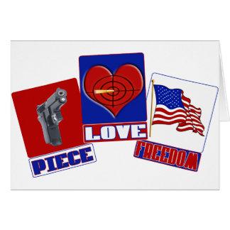 PIECE  (PEACE)  LOVE (HEART)  FREEDOM (USA FLAG) CARD