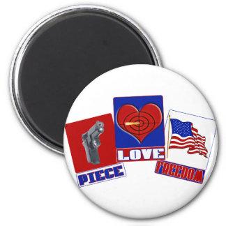 PIECE  (PEACE)  LOVE (HEART)  FREEDOM (USA FLAG) MAGNET