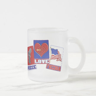 PIECE  (PEACE)  LOVE (HEART)  FREEDOM (USA FLAG) MUGS