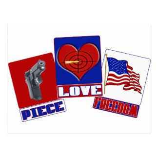 PIECE  (PEACE)  LOVE (HEART)  FREEDOM (USA FLAG) POSTCARD