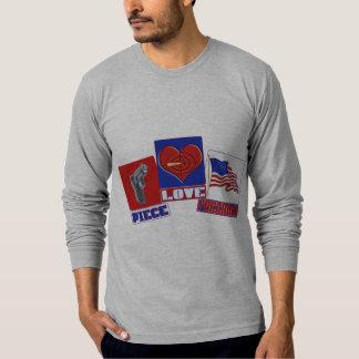 PIECE  (PEACE)  LOVE (HEART)  FREEDOM (USA FLAG) T-SHIRT