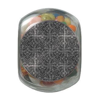PiecedLayered 2x2 BandW Glass Candy Jar