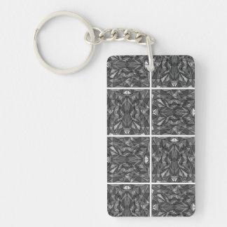 PiecedLayered 2x2 BandW Single-Sided Rectangular Acrylic Keychain