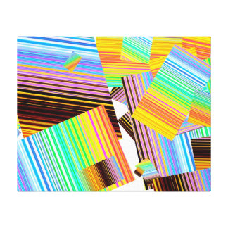 """Pieces of colored stripes on 20""""x16"""" canvas! canvas print"""