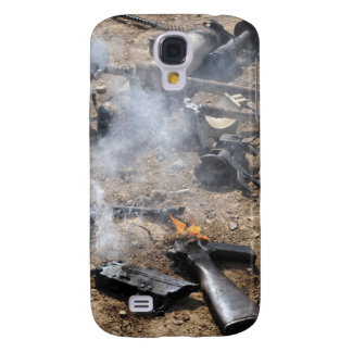 Pieces of enemy weapons lay out to cool off galaxy s4 cover