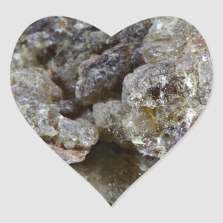 Pieces of natural frankincense heart sticker