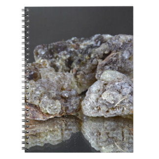 Pieces of natural frankincense resin on a mirror. notebook