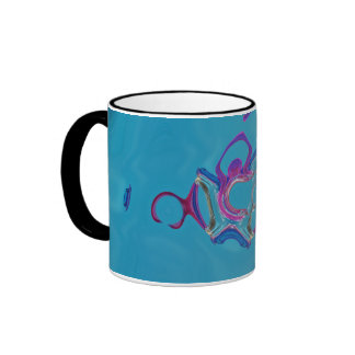 Pieces of Purple and Blue Floating Glass On Aqua Ringer Mug