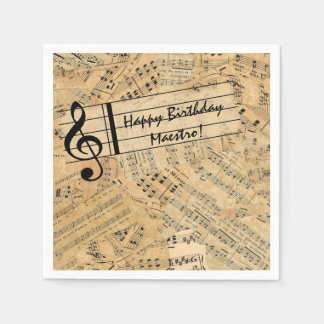 Pieces of Vintage Music IDE389 Paper Napkin