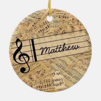 Pieces of Vintage Music POMV Ceramic Ornament