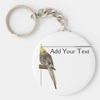 Pied Cockatiel on a Branch with White Basic Round Button Keychain
