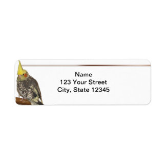 Pied Cockatiel on a Branch with White Return Address Label