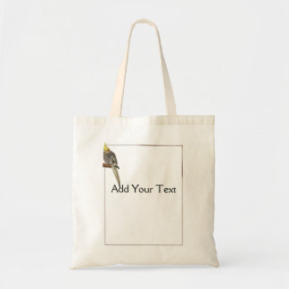 Pied Cockatiel on a Branch with White Tote Bag