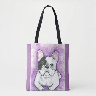 Pied French Bulldog purple tote bag