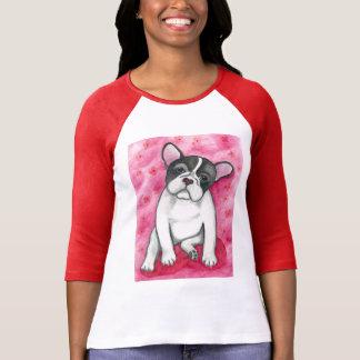 Pied French Bulldog with magenta raglan shirt