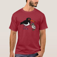 Pied Oystercatcher with chick Men's Basic Dark T-Shirt