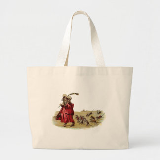 Pied Piper Cat Leading Rats Tote Bags