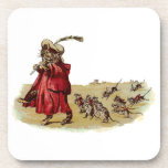Pied Piper Cat Leading Rats Drink Coaster