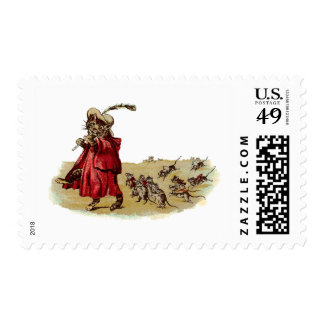 Pied Piper Cat Leading Rats Stamp