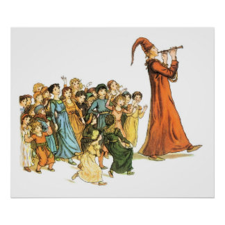 Pied Piper Illustration by Kate Greenaway Poster