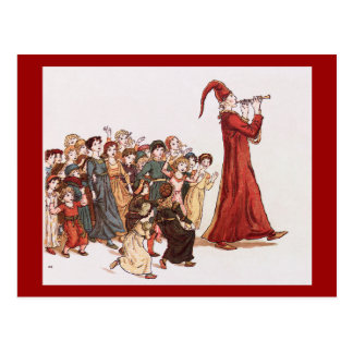 Pied Piper Leading the Children Vintage Postcard