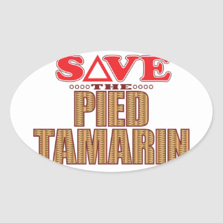 Pied Tamarin Save Oval Sticker
