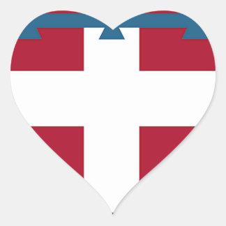 Piedmont (Italy) Flag Heart Sticker