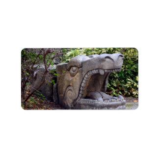 piedra abierta de la boca de la estatua del dragón etiquetas de dirección