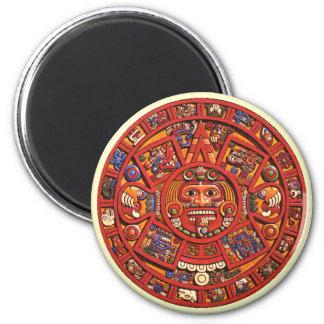 Piedra azteca del calendario - imán