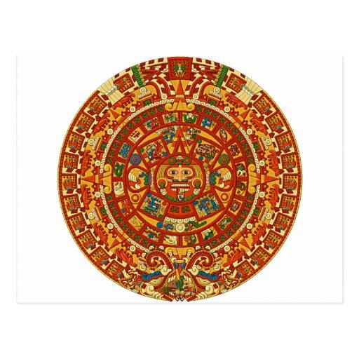Piedra azteca del calendario o piedra de Sun de Tarjeta Postal