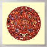 Piedra azteca del calendario - poster/impresión