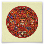 Piedra azteca del calendario - poster/impresión póster